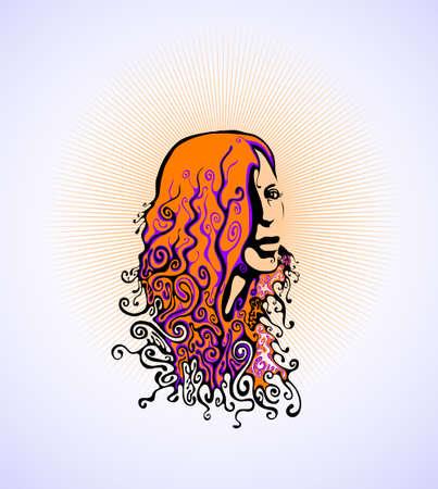 60s hippie: retro womans face. vector illustration Illustration