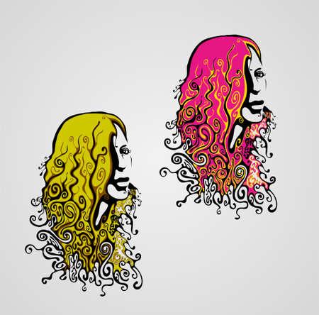 feminize: retro womans face.vector illustration