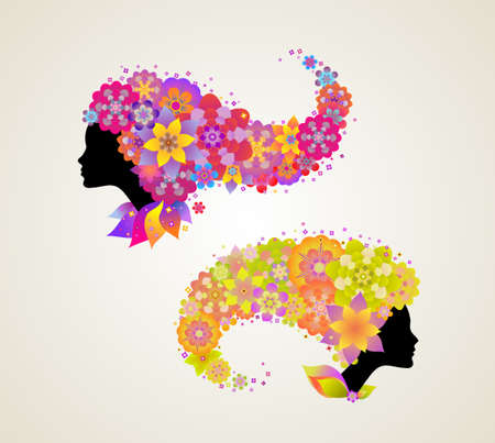 individuality: Female profile with floral hair
