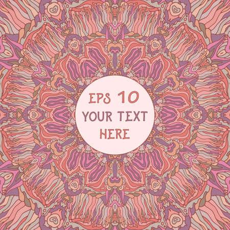 background kaleidoscope: Pink psychedelic kaleidoscope mandala background. Vector illustration Illustration