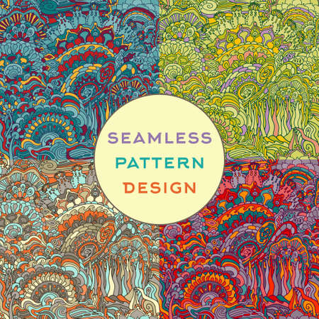 vintage background pattern: Colorful doodle ornament seamless pattern. Vector illustration