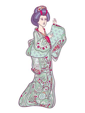 Japanese traditional doll ningyo isolated on white vector illustration