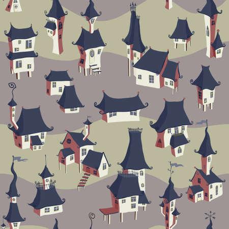 gloom: Cartoon old town seamless pattern. Vector illustration Illustration