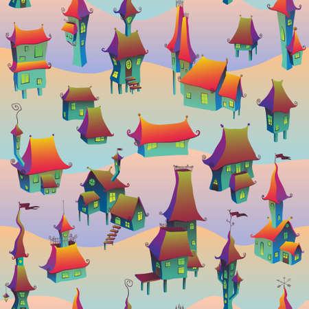 old town: Cartoon old town seamless pattern. Vector illustration Illustration