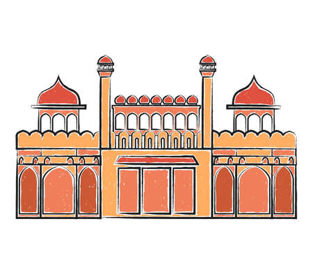 Red Fort Lal Quila isolated on white. Freehand vector illustration