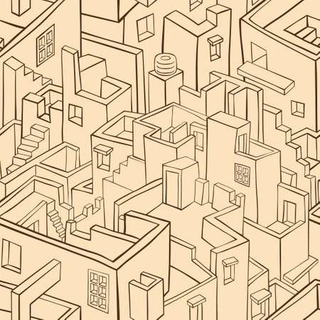 Vector pattern: Cũ đơn sắc thị trấn mẫu liền mạch. vector hình minh họa Hình minh hoạ