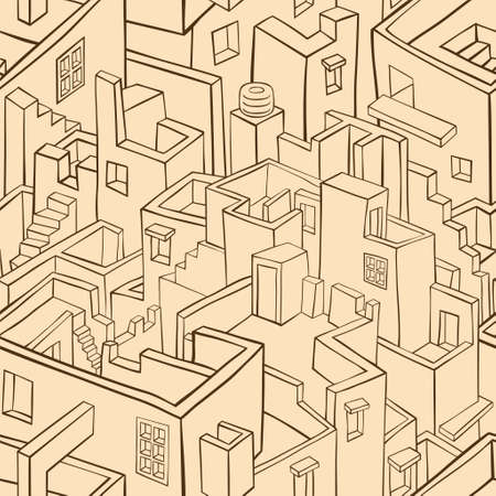 vector pattern: Old monochrome town seamless pattern. Vector illustration