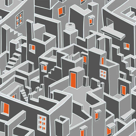 old town: Old town seamless pattern. Vector illustration