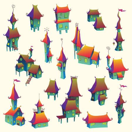 old town: Cartoon old fairytale town set. Vector illustration Illustration