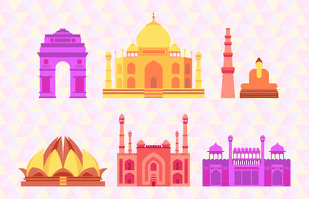 Indian buildings icon set. Colorful vector illustration