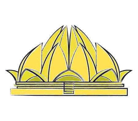 Lotus Temple freehand colorful vector illustration isolated on white
