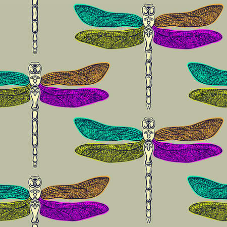 Colorful dragonflies on gray seamless pattern. Vector illustration.