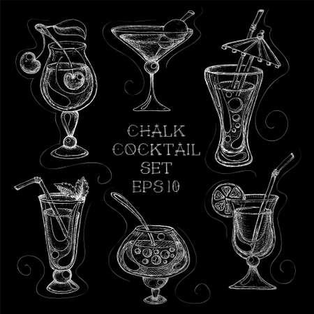 sketchy: Hand drawn sketchy cocktail on blackboard set. Vector illustration