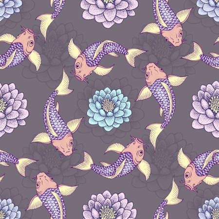 animal print: Patrón sin fisuras con las tradicionales carpas de lujo japonés o Koi. ilustración vectorial Vectores