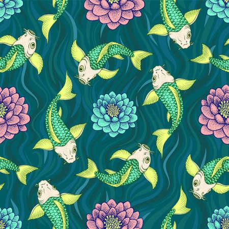 Patrón sin fisuras con las tradicionales carpas de lujo japonés o Koi. ilustración vectorial Ilustración de vector