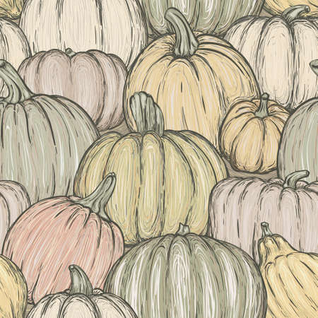 Bright seamless pattern with pumpkins for thanksgiving day, halloween etc. Vector sketchy illustration Illustration