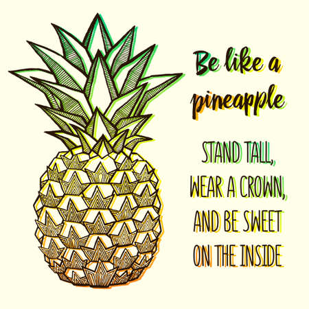 Fresh Pineapple isolated on white background. Hand-drawn ink vector illustration for t-shirts, banners, posters etc