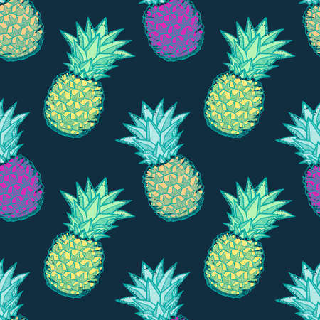 Seamless pattern with ink hand-drawn multicolored pineapples on dark background. Vector illustration Illustration