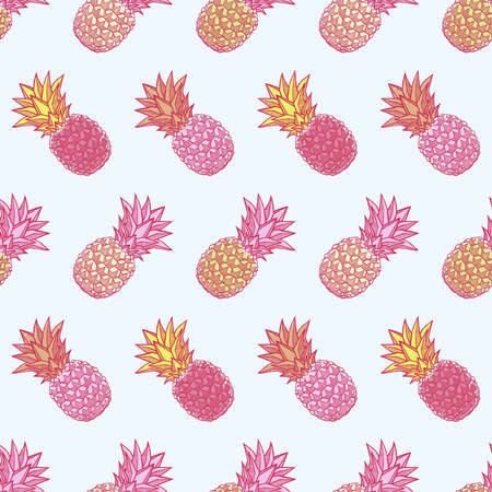 Seamless pattern with hand-drawn pink and yellow pineapples on light background . Vector illustration