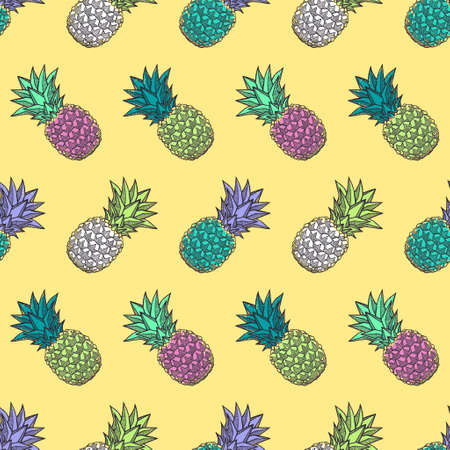 Seamless pattern with ink hand-drawn multicolored pineapples on light background. Vector illustration