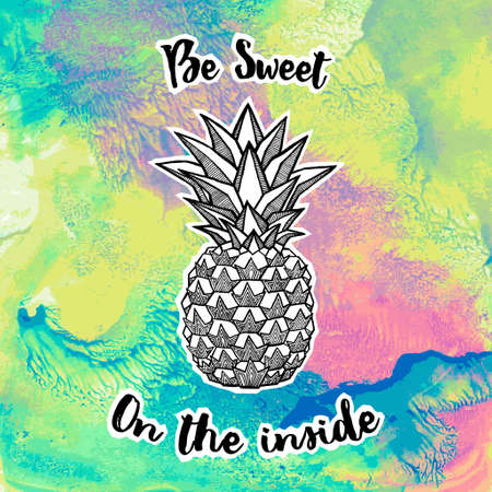 Fresh Pineapple isolated on bright multicolored background. Hand-drawn ink and watercolor vector illustration for t-shirts, banners, posters etc