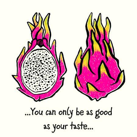 Dragonfruit or Pitaya. Hand-drawn ink vector illustration