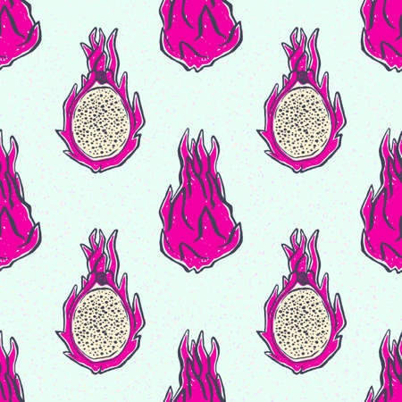 Seamless pattern with hand-drawn pink dragonfruits