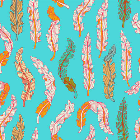 Hand drawn seamless pattern with colorful tropical banana leaves on light blue background. Hand drawn jungle texture. Ornate vector background for print, interior, wallpaper, fabrics Illustration