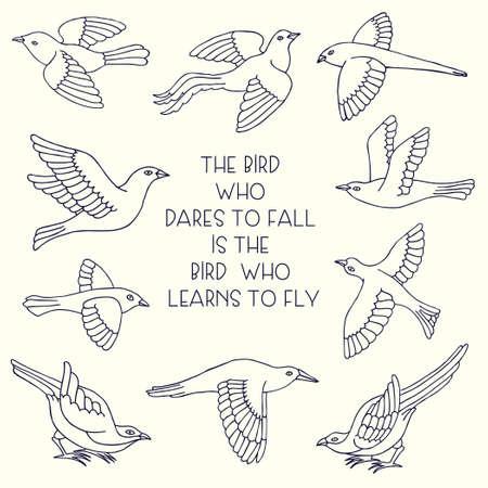 Hand drawn decorative birds set. Illustration
