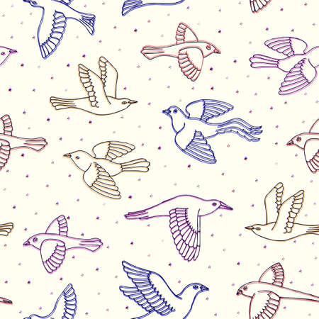 Hand drawn decorative birds seamless pattern. Illustration