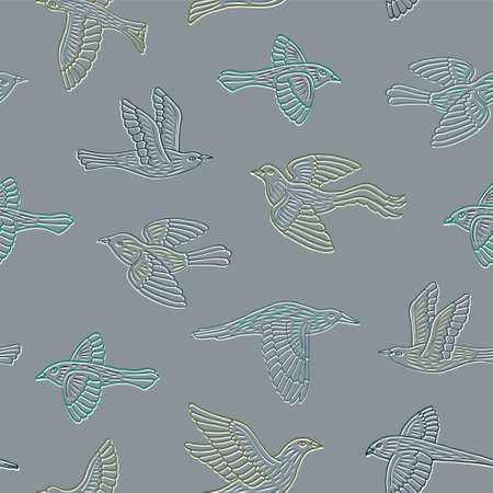 Hand drawn decorative birds seamless pattern. Animal vector illustration. Illustration