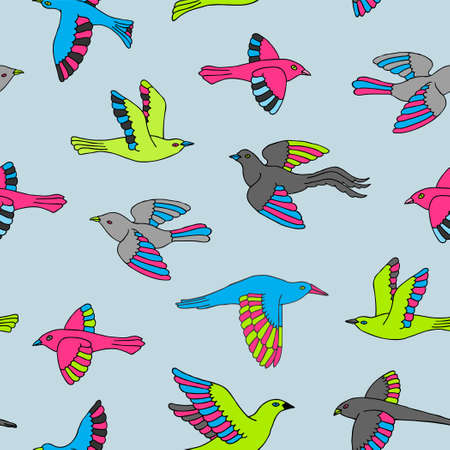 Hand drawn decorative birds seamless pattern. Animal vector illustration