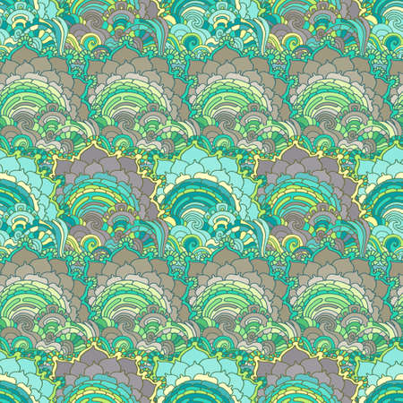 Vector seamless pattern with psychedelic doodle ornament Illustration