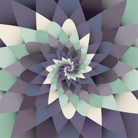 Vector background with blue and green paper spiral psychedelic form pattern