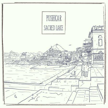 Lago sagrado de Pushkar, Radjasthan, India. Paisaje arquitectónico detallado dibujado a mano. Ilustración de dibujo vectorial. Plantilla de la postal de la tarjeta de felicitación del cartel del viaje artístico del vintage.