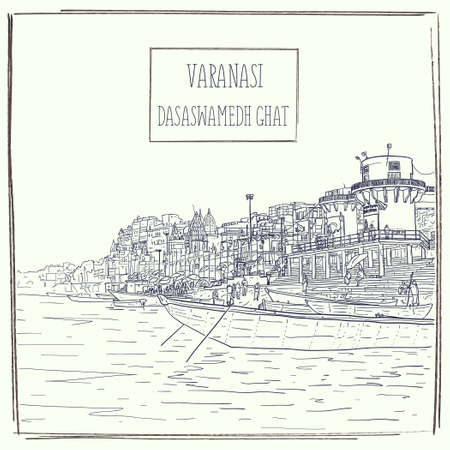 Dasaswamedh Ghat in Varanasi, Uttar Pradesh, India. River view. Detailed hand drawn architectural cityscape. Vector sketch illustration. Vintage artistic travel poster greeting card postcard template. Ilustração