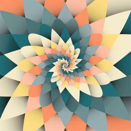 Vector background with bright rainbow, orange, green spiral psychedelic form pattern Vectores