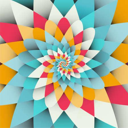 Fond de vecteur avec motif de forme psychédélique spirale arc-en-ciel lumineux