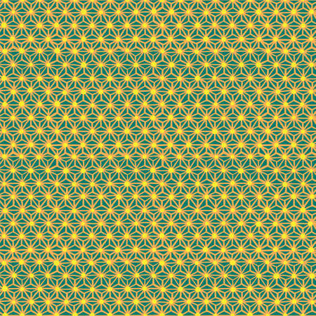 Seamless pattern with japanese hemp leaf motif. Hand drawn irregular print. Vector modern style illustration for t-shirt, fabric, wrapping and wallpaper design.
