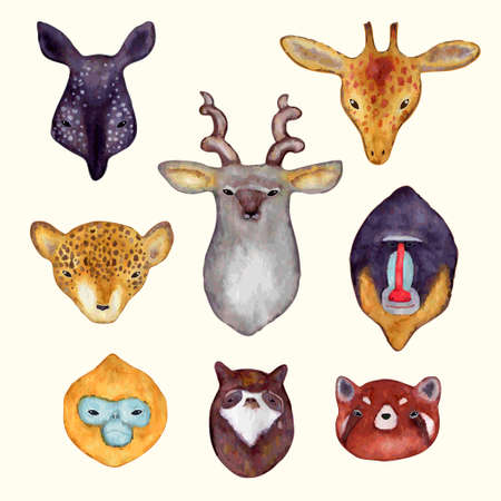 Watercolor animals stickers. Hand drawn animals head?. Lion and tiger, bear and fox illustration.