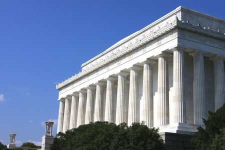 superstructure: The Lincoln Memorial in the Mall of Washington Stock Photo