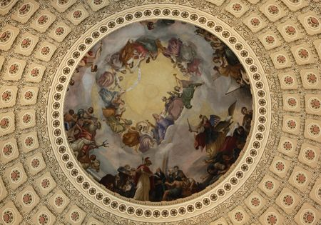 the rotunda: Ceiling in Capitol Stock Photo