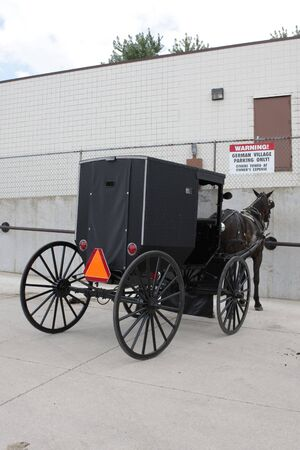 amish buggy: Parking Stock Photo