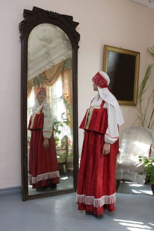 reflection: Russian girl and mirror
