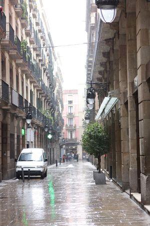edinburgh: Rain in Barcelona, Spain Stock Photo
