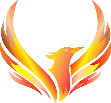 stock logo flaming phoenix flying