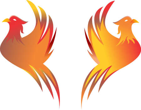 flaming: stock logo flaming birds Illustration