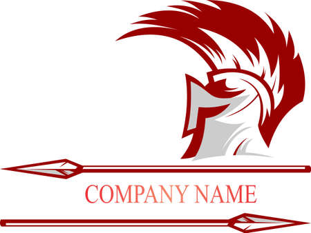 logo casque spartiate avec lance Logo