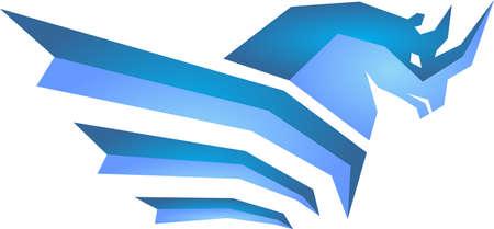 abstract blue rhino Illustration