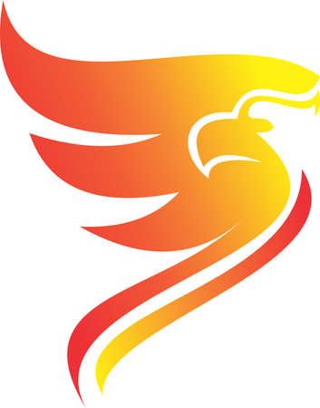 simple logo: logo simple flaming phoenix Illustration